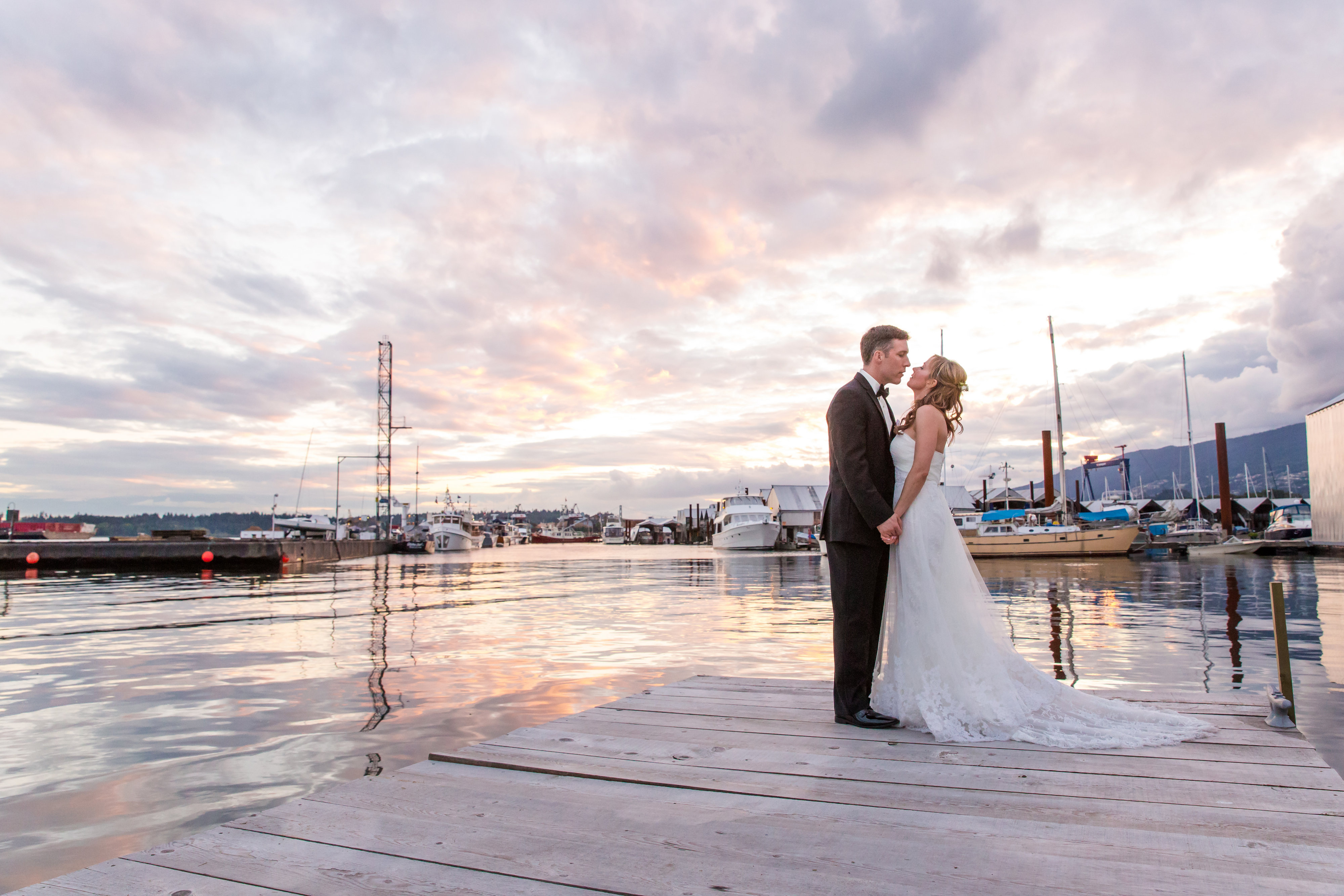 Bride and Groom and Sunset